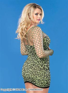 Sexig leopardmönstrad minidress med hålmönstrade ärmar, plus size